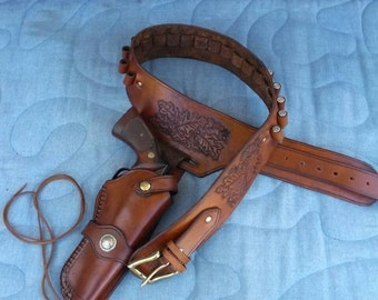 Western Leather Holster and Cartridge Belt- custom made to order