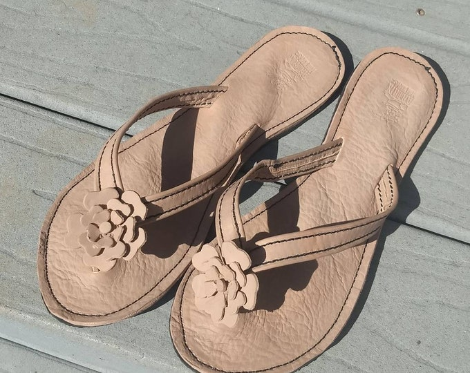 Custom Leather Women's Sandals with Leather Flower Flip Flops Thongs