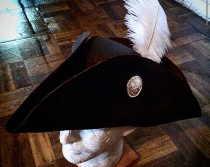 Tricorn Leather Hat