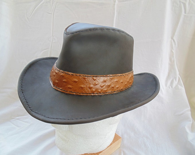 Leather Fedora with Ostrich Hat Band by Artrix Leather and Fine Art