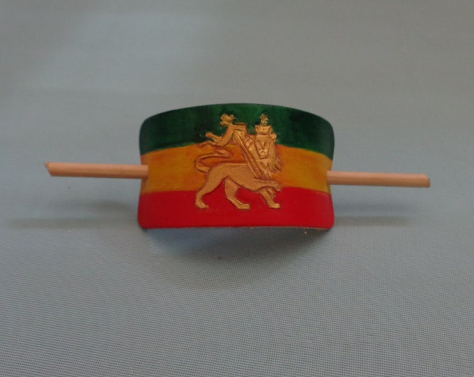 Leather Hair Slide hand tooled by Artrix Leather and Fine Art- Rastafarian Flag with Lion