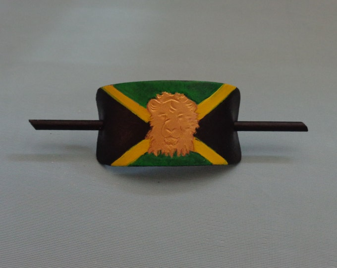 Leather Hair Slide hand tooled by Artrix Leather and Fine Art- Jamaican Flag with Lion