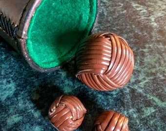 Leather monkey fist balls for chop cup or cups and balls