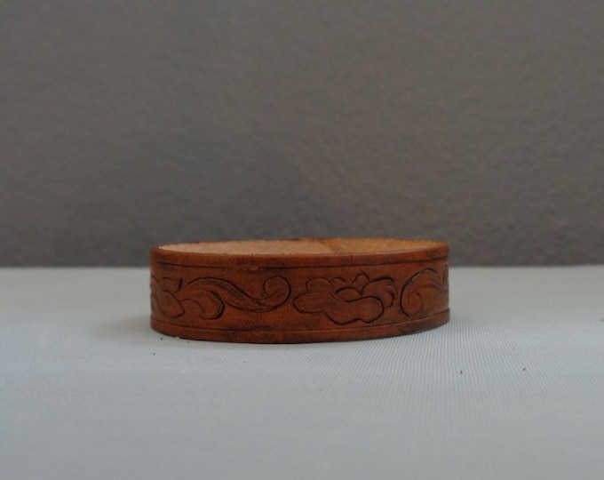 Leather Cuff by Artrix Leather and Fine art -Victorian Scroll with Flower