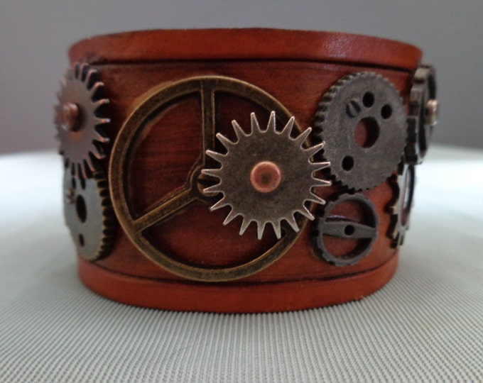 Leather cuff hand tooled by Artrix Leather and Fine Art -Steampunk Leather Cuff