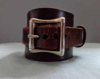 Leather cuff hand tooled by Artrix Leather and Fine Art -The Spartan Leather Cuff