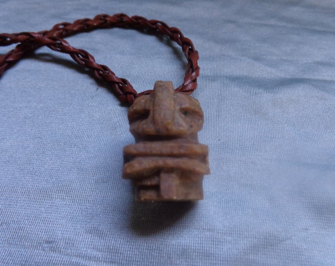 Soapstone Pendant Necklace by Artrix Leather and Fine Art-Tiki Pendant with Plaited Leather Necklace