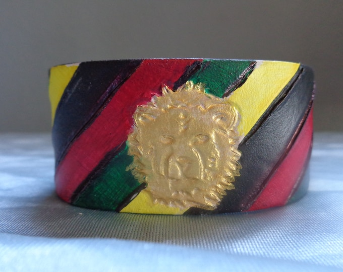 Leather Cuff by Artrix Leather and Fine art -Rasta Lion Cuff