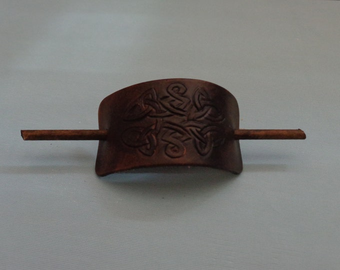 Leather Hair Slide hand tooled by Artrix Leather and Fine Art- Celtic Knot II