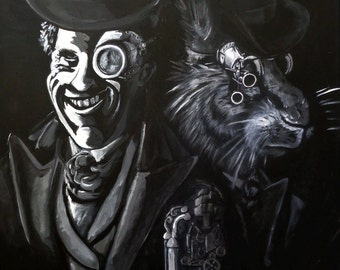 Acrylic Painting by Mike Armstrong- The Hatter and The Hare