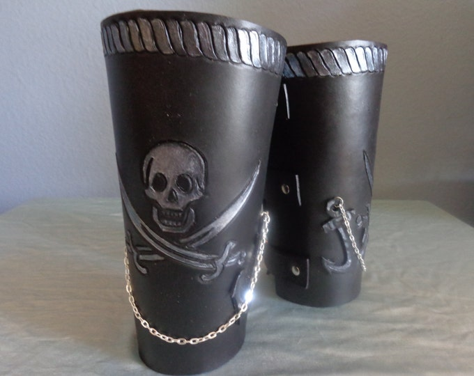 "Leather Cuff by Artrix Leather and Fine art -Pair of Leather Pirate ""Cowboy"" Style Arm Brace Cuffs"