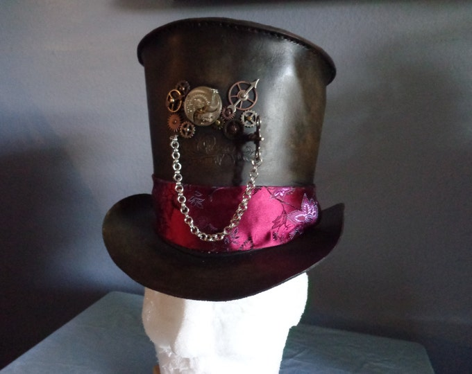Steampunk Leather Top Hat With Clock Parts and Antique Pocket Watch Movement by Artrix Leather and Fine Art