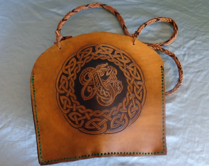 Leather Purse hand tooled by Artrix Leather and Fine Art - Celtic Dragon Purse with Zippered Pocket