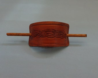 Leather Hair Slide hand tooled by Artrix Leather and Fine Art- Celtic Knot