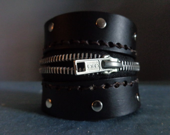 Leather Cuff by Artrix Leather and Fine art - Zipper Cuff with Rivets