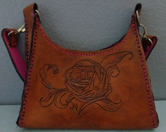 Leather Purse hand tooled by Artrix Leather and Fine Art -Leather Rose Purse with Silk Lining