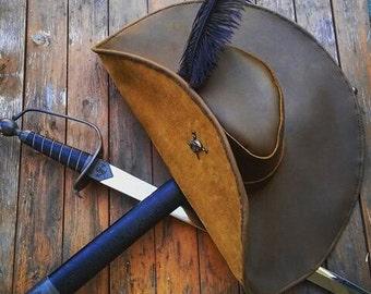Leather Wide Brim Buccaneer Hat
