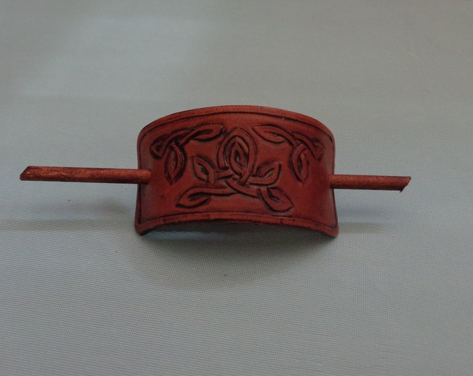 Leather Hair Slide hand tooled by Artrix Leather and Fine Art- 3 Celtic Knot