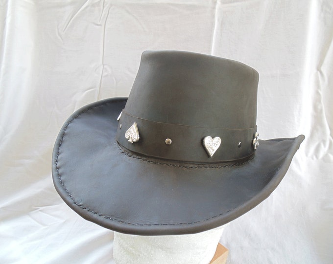 Leather Gambler Style Hat with Card Suits and Rivets Hat Band by Artrix Leather and Fine Art