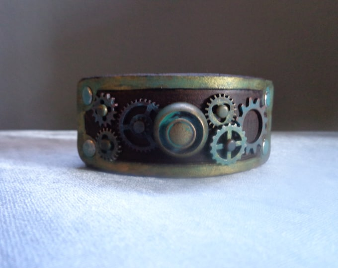 Leather Cuff by Artrix Leather and Fine art -Antiqued Steampunk Leather Cuff with Clock Parts