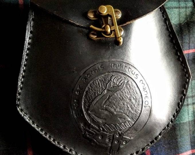 Custom Leather Sporran with Clan Crest