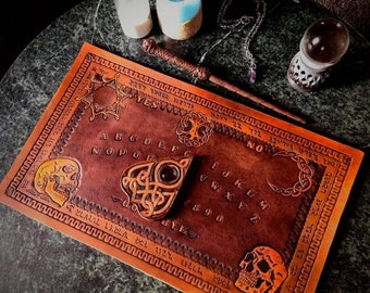 Custom Leather Ouija Board Spirit Board and Planchette Hand Tooled