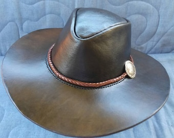 Leather Bushman's Hat with Plaited Leather Hatband and Silver Concho by Artrix Leather and Fine Art