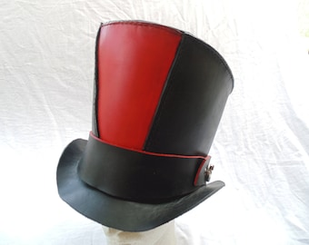 Steampunk Leather Top Hat With Moving Gears Leather Hat Band by Artrix Leather and Fine Art