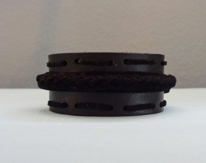 Leather Cuff by Artrix Leather and Fine art -Black Leather Cuff with Plaited Band