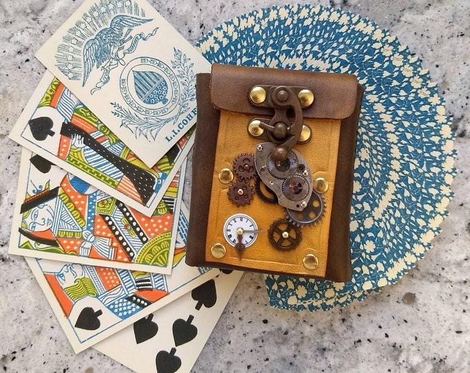 Steampunk Leather Card Case