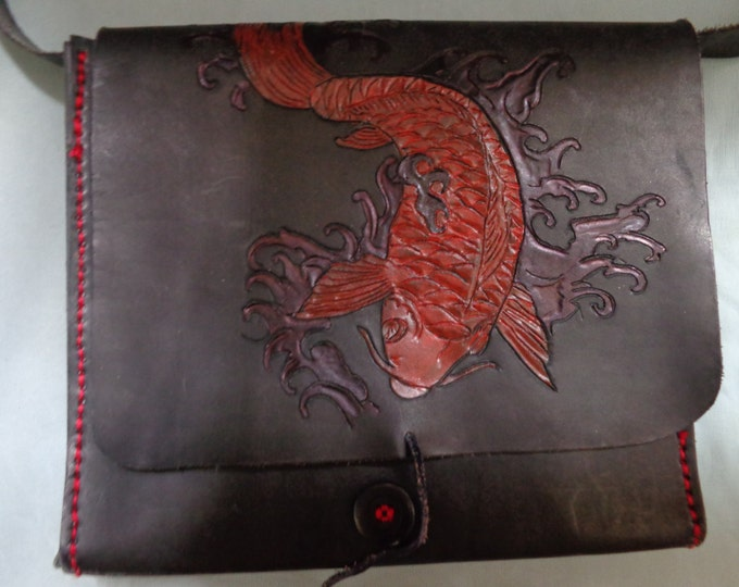 Leather Purse hand tooled by Artrix Leather and Fine Art-  Koi Messenger Style Shoulder Bag