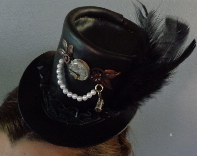 Steampunk Leather Mini Top Hat With Clock Parts and Antique Pocket Watch Movement by Artrix Leather and Fine Art