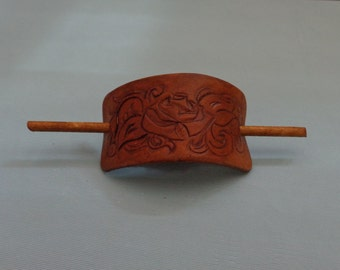 Leather Hair Slide hand tooled by Artrix Leather and Fine Art- Victorian Rose