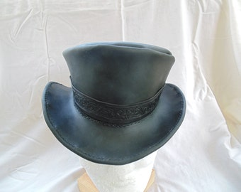 Steampunk Leather Top Hat With Hand Tooled Leather Hat Band by Artrix Leather and Fine Art