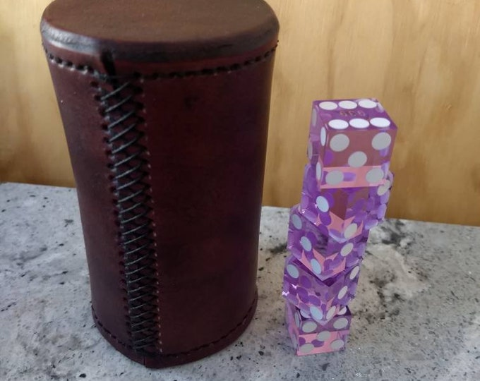 Custom leather dice stacking cup