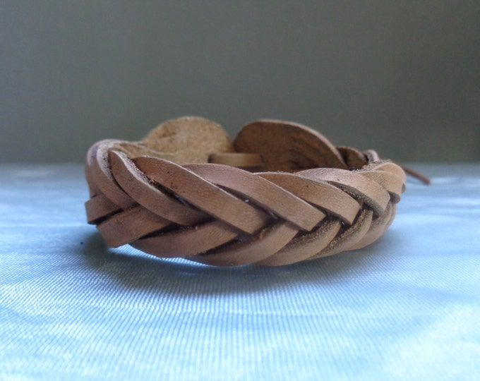 Leather Cuff by Artrix Leather and Fine art -Mystery Braid Seven Plait Leather Bracelet