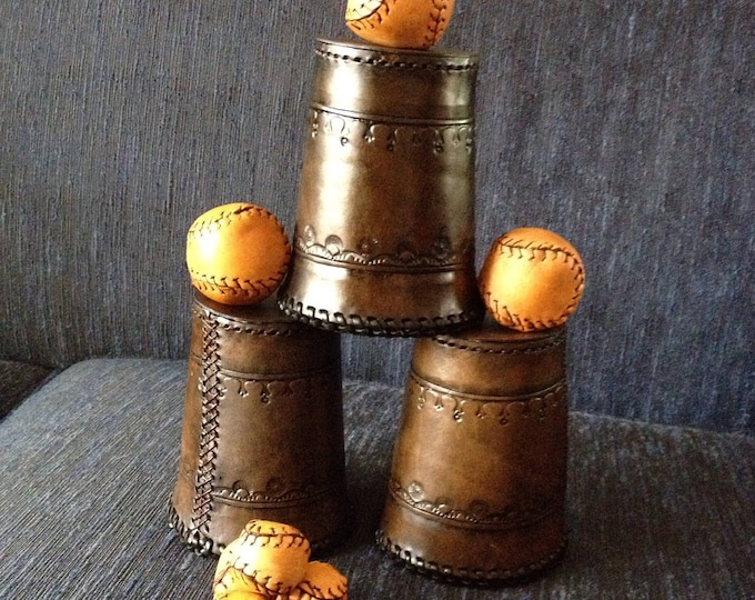 Leather Cups and Balls with Chop Cup
