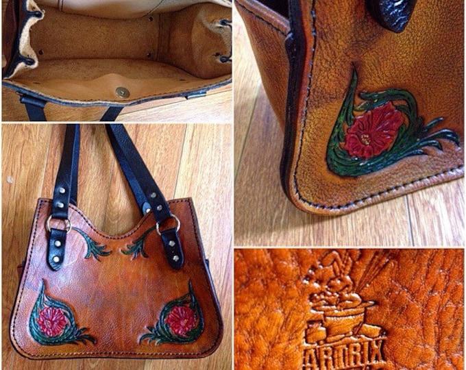 Custom leather purse hand tooled leather