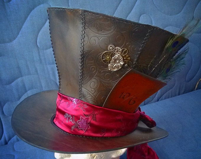 Mad Hatter Leather Top Hat With Clock Parts and Antique Pocket Watch Movement by Artrix Leather and Fine Art
