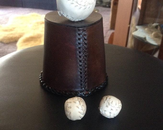 Custom Leather Chop Cup Set