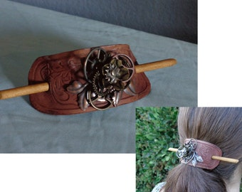 Leather Hair Slide hand tooled by Artrix Leather and Fine Art- Steampunk Rose with Victorian Scroll
