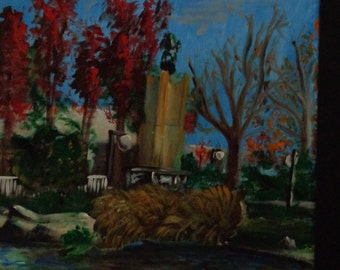 Acrylic Painting by Mike Armstrong- Park in Autumn