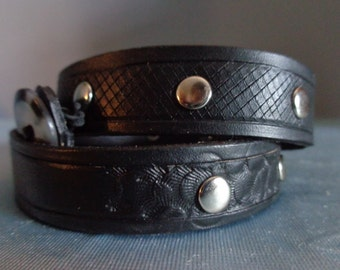 Leather Cuff by Artrix Leather and Fine art - Triple Wrap Leather Bracelet with Rivets