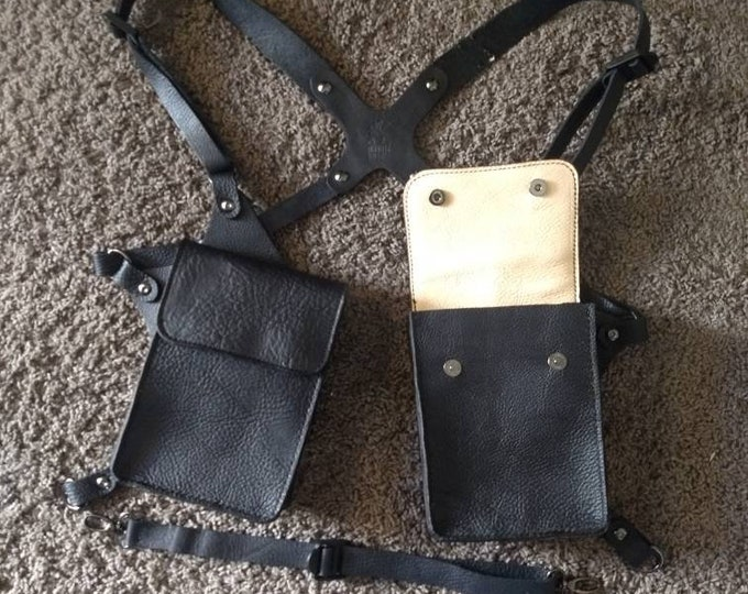 Custom leather shoulder harness with pouches