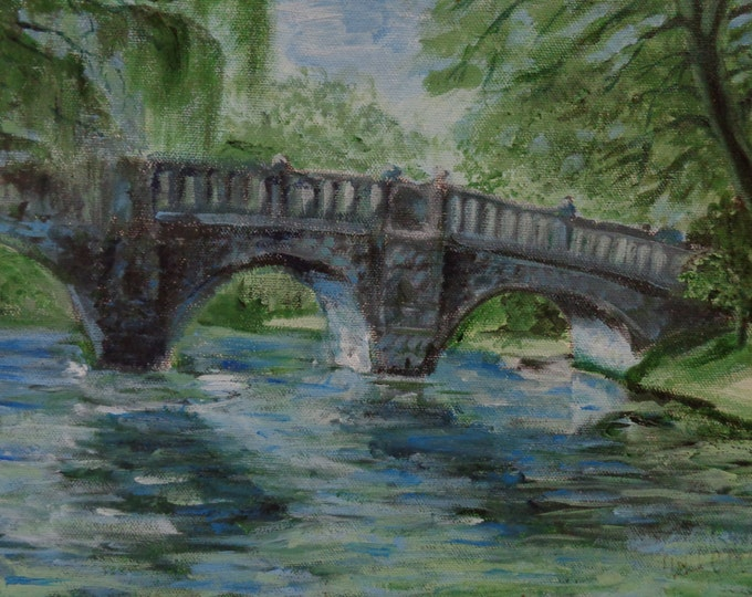 Acrylic Painting by Mike Armstrong- Bridge in Central Park