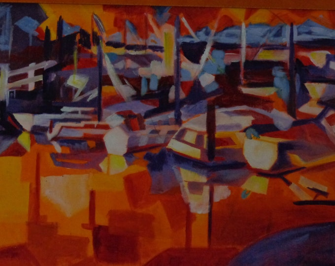 Acrylic Painting by Mike Armstrong- Marina at Sunset