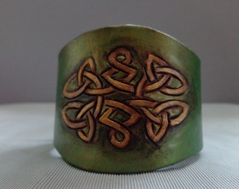 Leather cuff hand tooled by Artrix Leather and Fine Art- Celtic Knot Leather Cuff