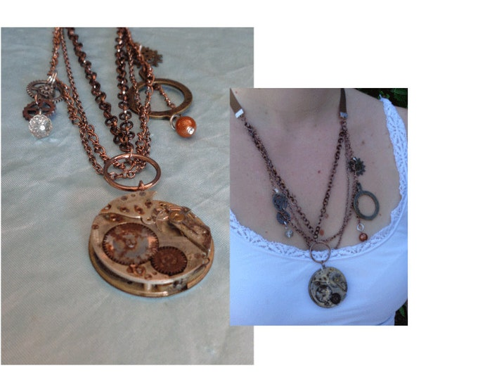 Steampunk Necklace by Artrix Leather and Fine Art- Pocket Watch Movement with Clock Gears