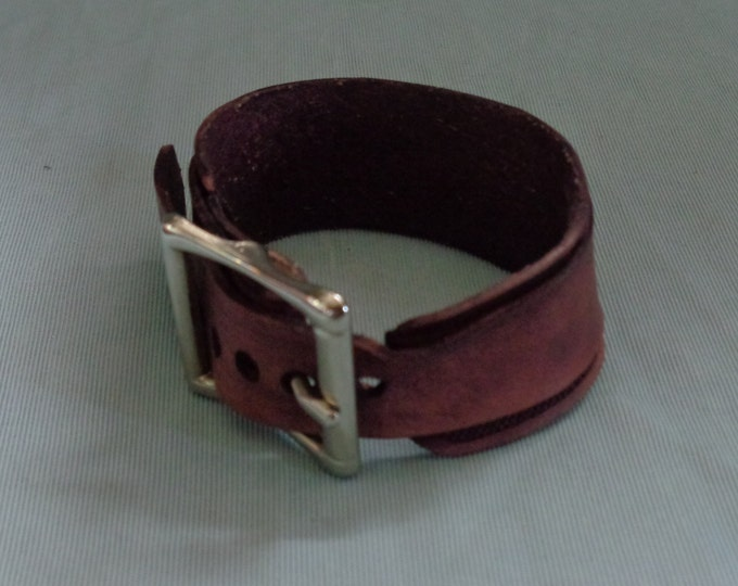 Leather Cuff Double Band hand tooled by Artrix Leather and Fine Art