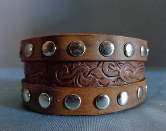 Leather Cuff by Artrix Leather and Fine art - Victorian Scroll with Double Riveted Band
